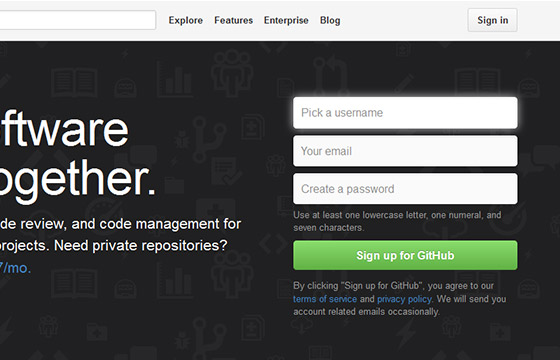 Excellent Sign Up Forms - Github
