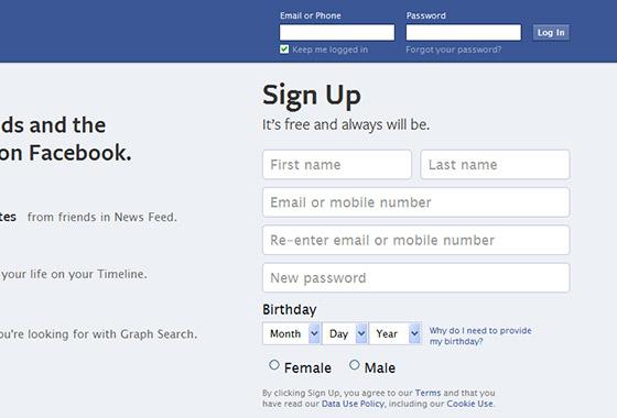 Excellent Sign Up Forms - Facebook