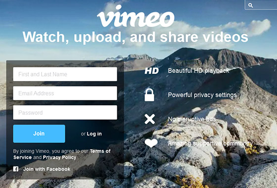 Excellent Sign Up Forms - Vimeo