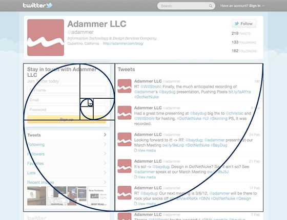 Golden Ratio in Twitter page