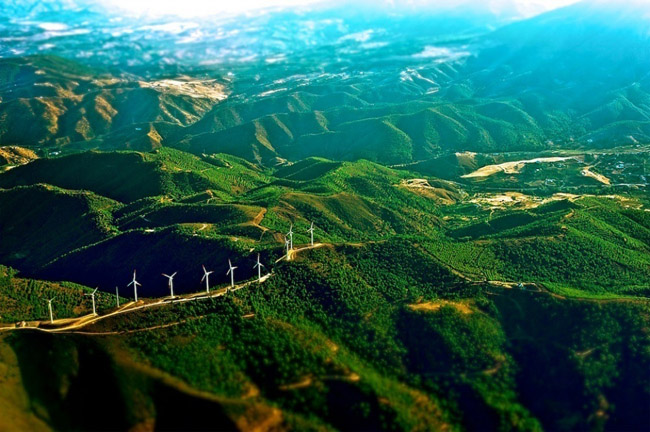 Windmills on the mountains of Spain