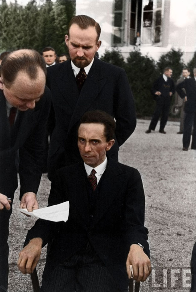 Joseph Goebbels scowling at photographer Alfred Eisenstaedt after finding out he's Jewish, 1933