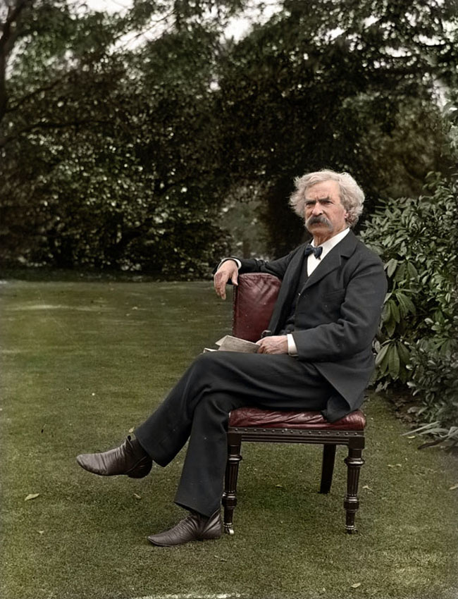 Mark Twain in the garden, circa 1900