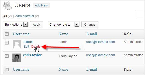 Delete the 'admin' User