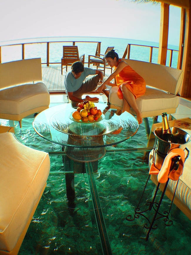 The above-water glass floor cottage in the Maldives