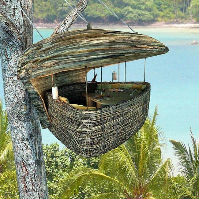 Hanging dining pod in Soneva Kiri, Thailand.