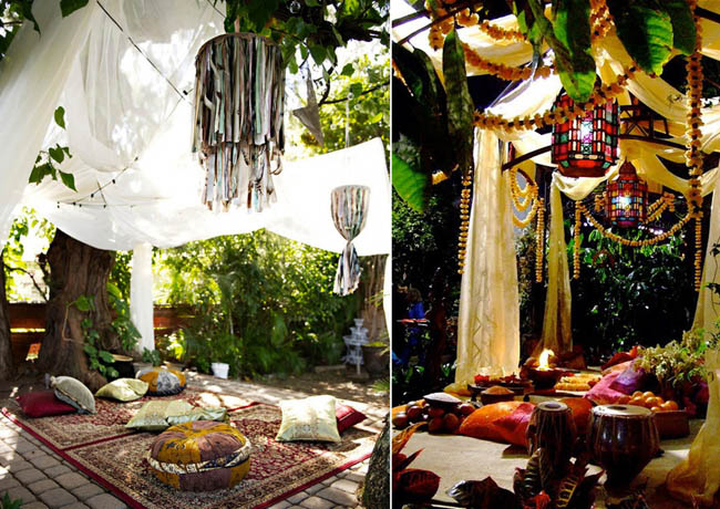 Chilling out Eastern style in a bohemian backyard.