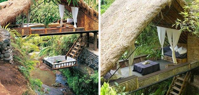 Treehouse river resort in Bali.