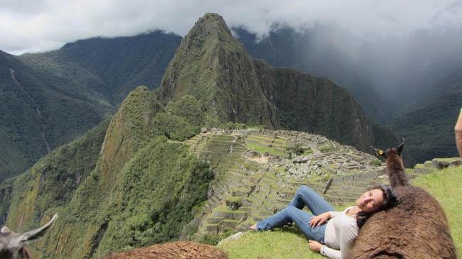 Resting in Machu Picchu.