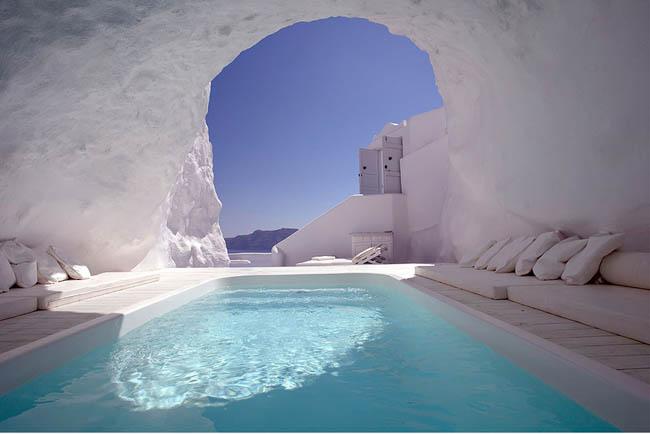 Cool cave pool in Satorini, Greece.