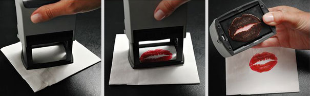 Make up business cards made with lipstick.