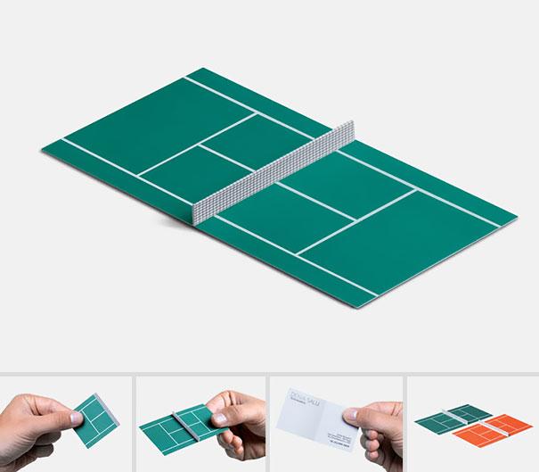 A mini tennis court card!