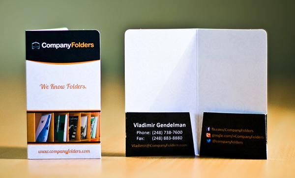 Folder type business card