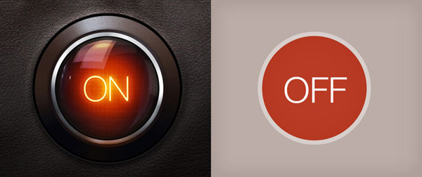 Skeuomorphism versus icon
