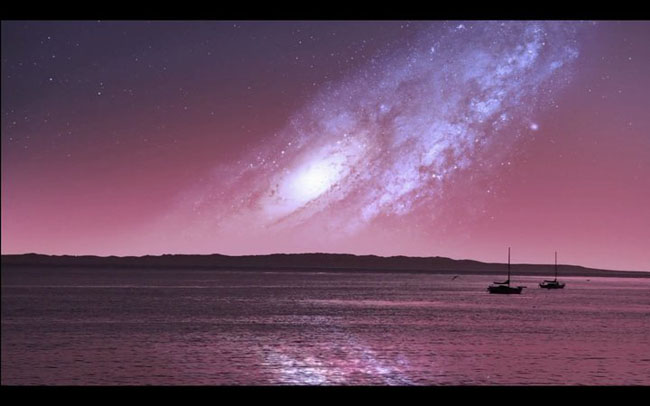 Andromeda nears Milky Way before colliding.