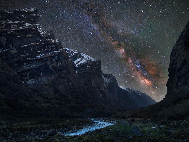The Milky Way over the Himalayan night sky