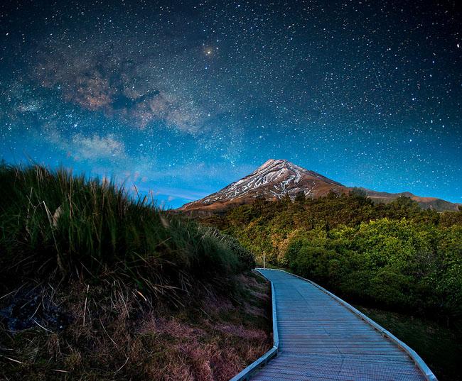 Night sky over Mt Ekmond New Zealand