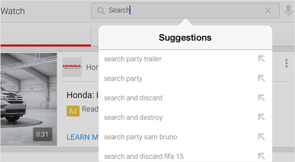 You Tube iPad app - auto filling information