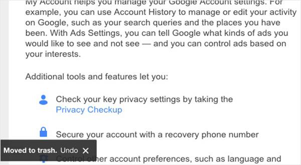 Gmail iPad app - Moved to trash indicator