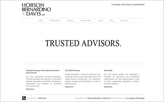 Effective use of white space in 'Hobson Bernardino + Davis LLP' website