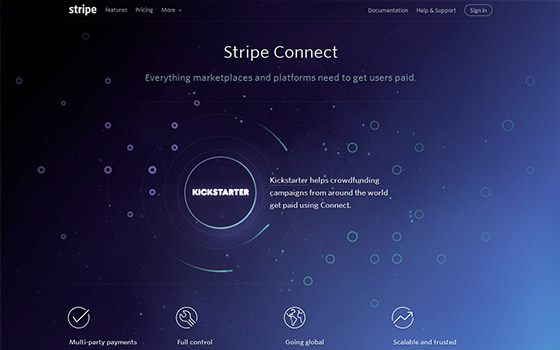 Macro negative space in Stripe Connect landing page