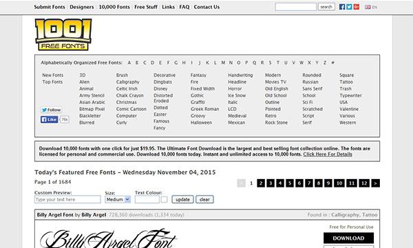 1001 Free Fonts