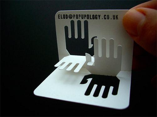 Popupology 3D hands business card