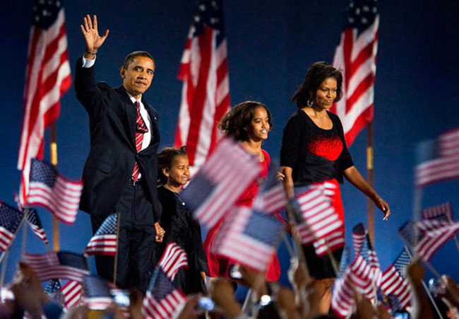 21st century photos - Barack Obama wins the 2008 election, becoming the first African American President.