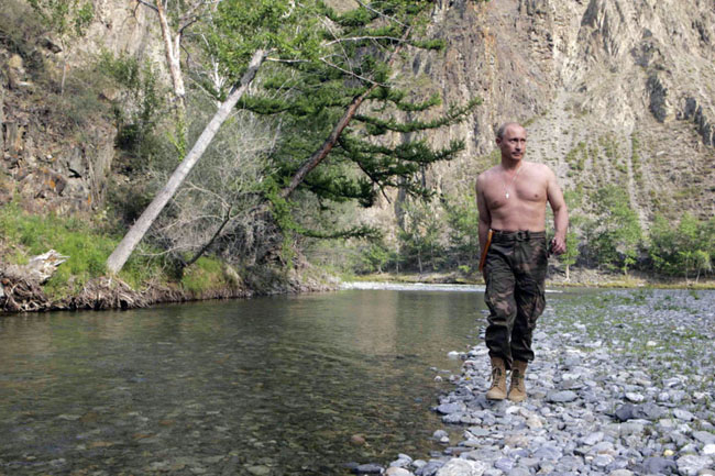 Vladimir Putin shirtless while vacationing and hunting in Siberia.