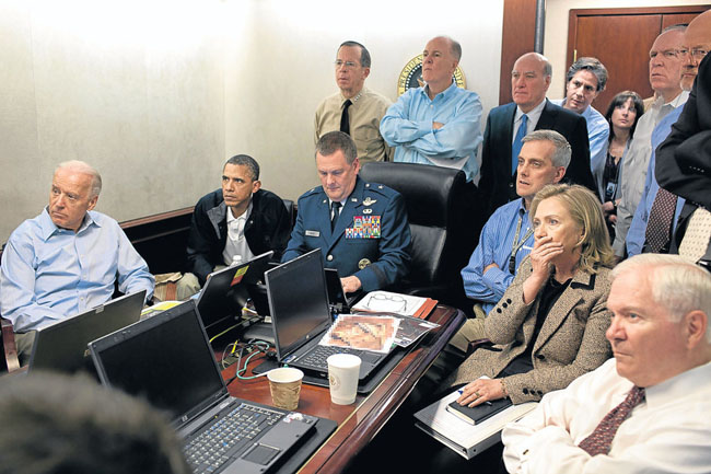 21st century photos - Barack Obama and Government staff watch as commandos conduct a raid, which ends with the killing of Osama bin Laden