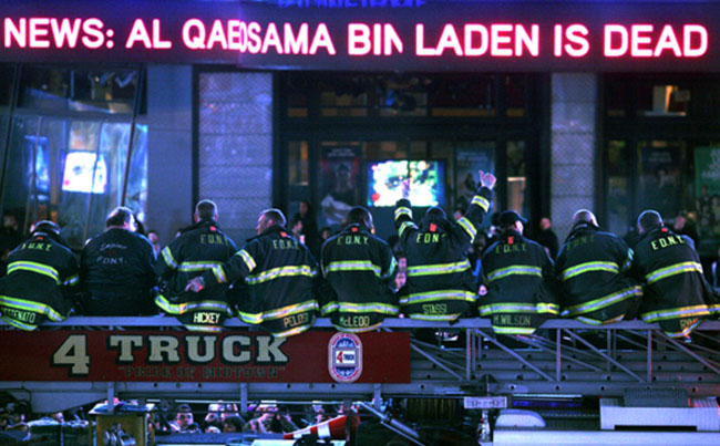 New York firefighters, many of whom lost friends in the 9/11 attacks, learn of Osama bin Laden's death