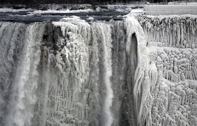 21st century photos - The U.S. side of the Niagara Falls is pictured in Ontario.