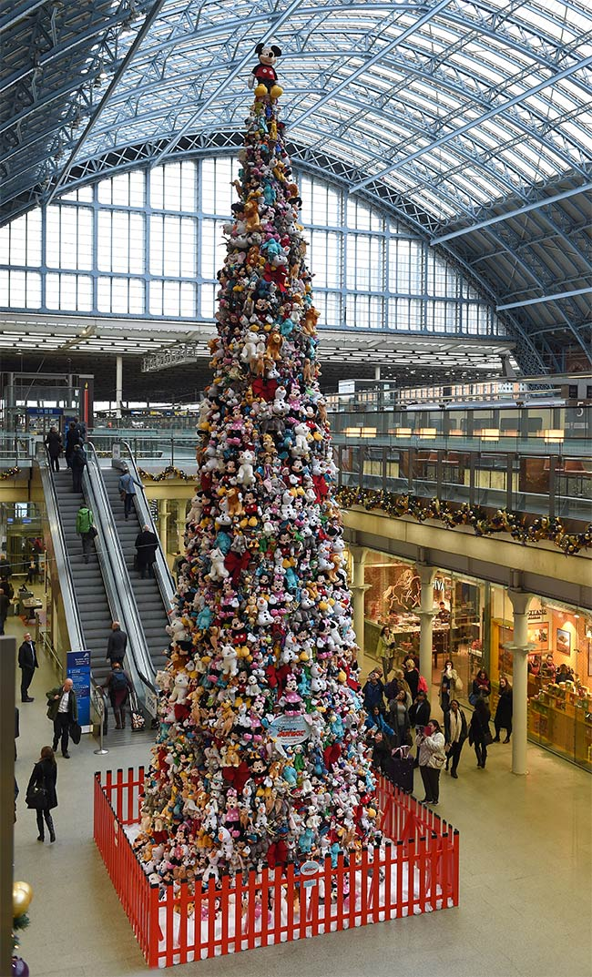 Christmas tree covered in 2,000 Disney toys in London, England