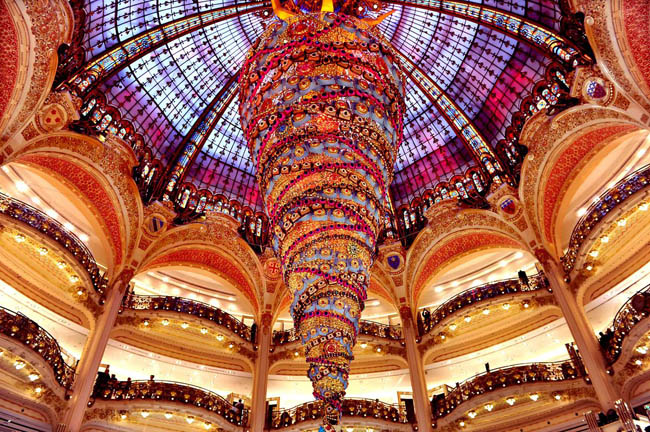 Upside Down Christmas Tree inside a shopping mall in Paris, France