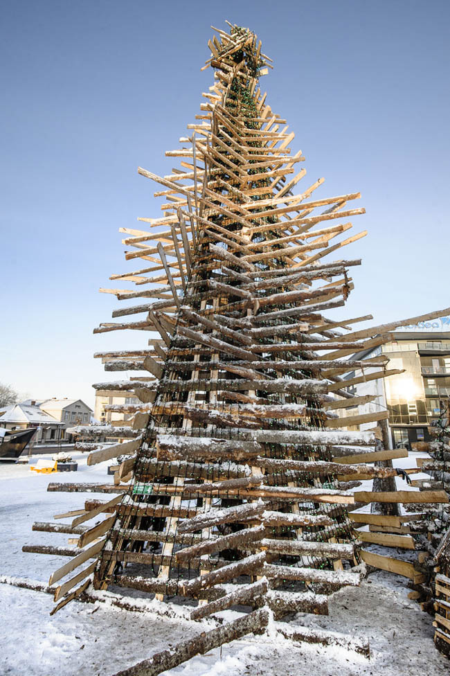 A Tree Made Of Recycled Wood at the city centre of Rakvere, Western Virumaa