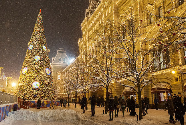 Christmas tree outside Moscow's GUM department store in Red Square