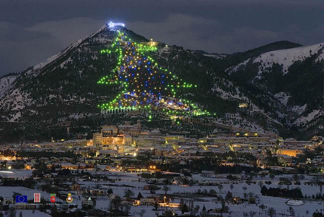Christmas tree on the slopes of Monte Ingino, Gubbio, Italy