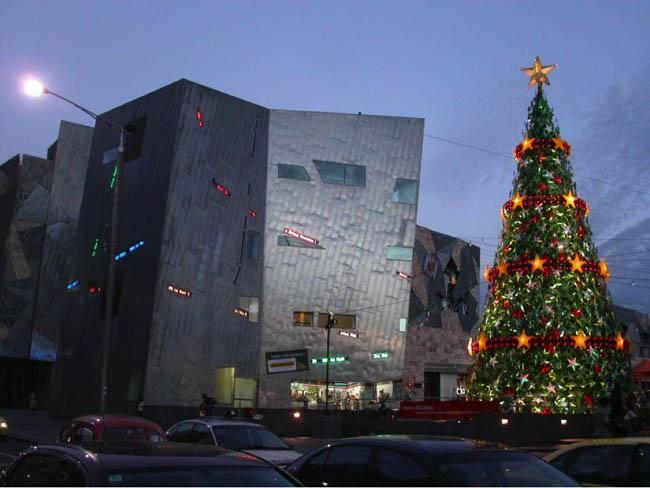 Beautiful Christmas tree at Federation Square, Melbourne, Australia