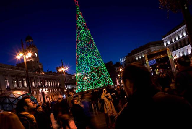 Environmentally friendly Christmas tree Puerta del Sol, Madrid, Spain