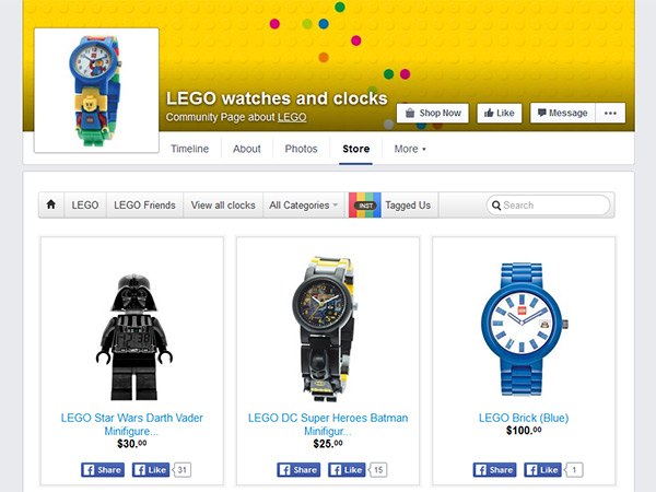 Lego watches and clocks Facebook's page