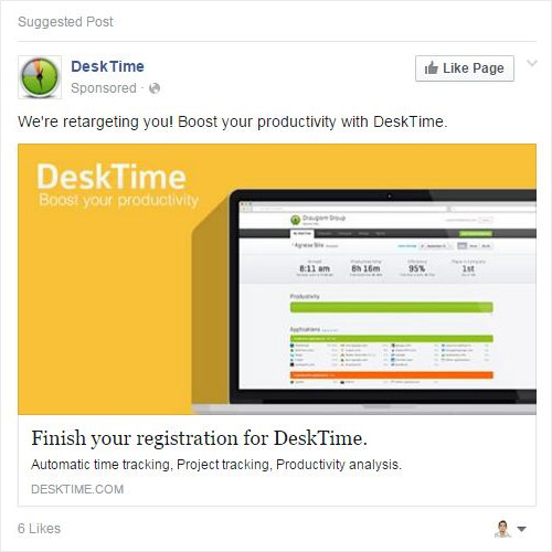 Desk Time Facebook ad