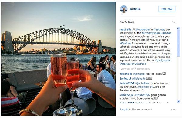 Tourism Australia Instagram
