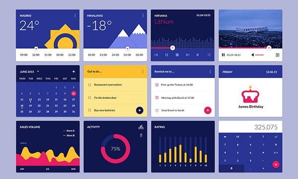 Material Design Widgets UI Kit PSD