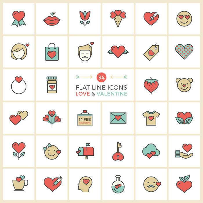 Flat Line Valentine Icon Set