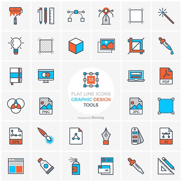 Flat Line Graphic Design Tools Icons