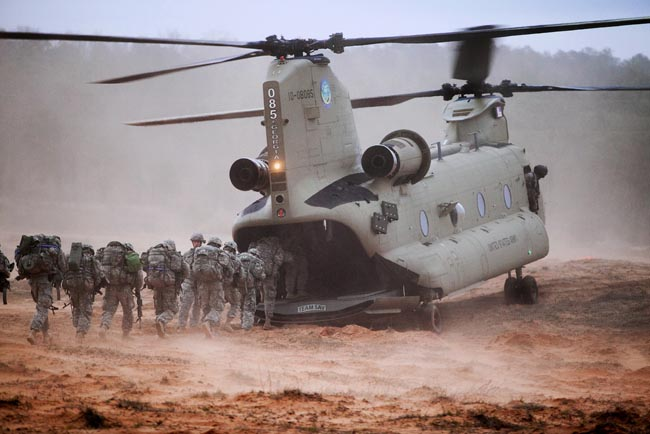 Chinook Helicopter Gobbles Up Scout Team