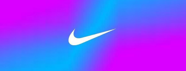 Nike Logo in white with a multi-colored pastel background.