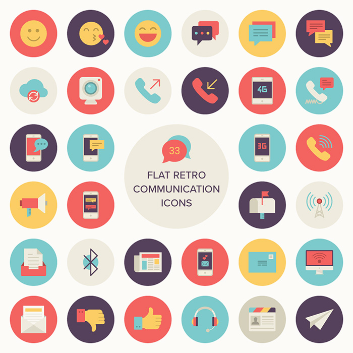 Flat Retro Communications Icon Set