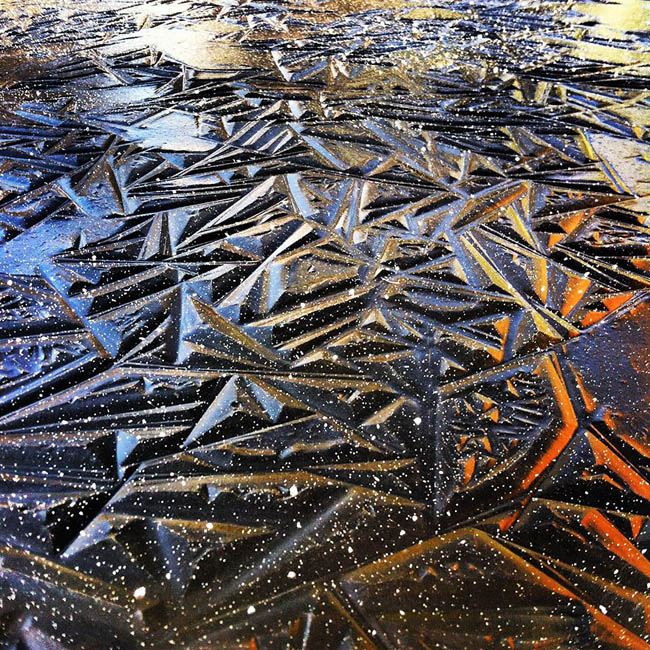 Geometric Pond Ice In Southern Oregon, USA