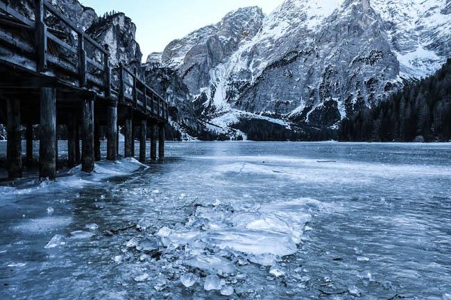Frozen lakes - Lake Braies, Dolomites, South Tyrol, Italy